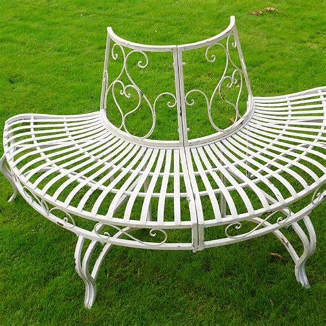 metal garden benchmetal patio furnituretree seat candle  blue