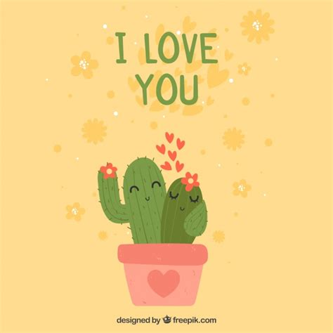 valentines day background  cactus couple vector
