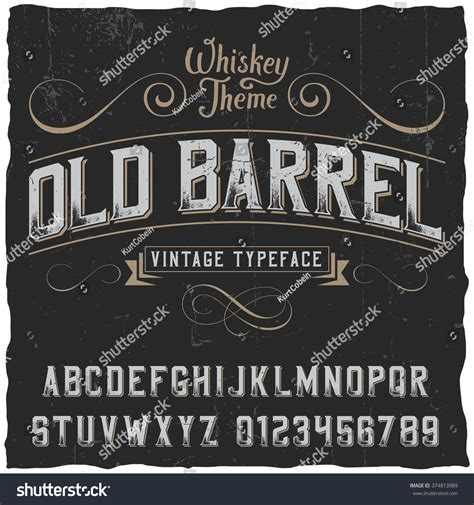 Font Decoration Old Barrel Label Font And Sle Label Design With