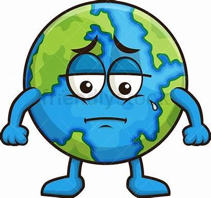 Sad Earth Clipart Cartoon Friendlystock Vector Crying