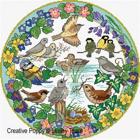 lesley teare designs birds  spring cross stitch pattern