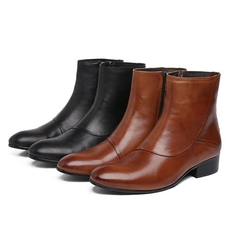 mens brown leather motorcycle boots quality black brown zipper mens ankle boots winter