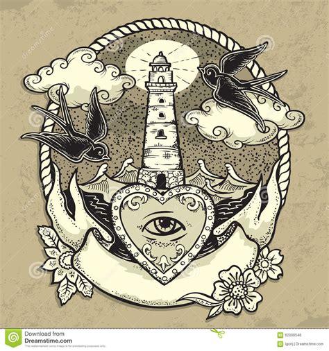 lighthouse  heart tattoo stock vector image