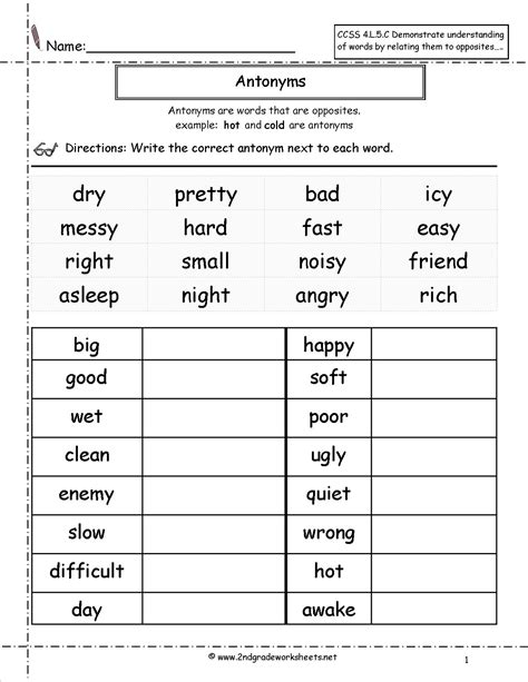 13 best images of antonym worksheets for 3rd grade