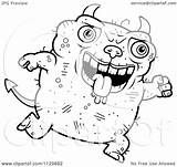 Devil Ugly Cartoon Jumping Clipart Coloring Outlined Vector Cory Thoman Royalty sketch template