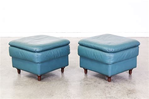 Blue Leather Ottoman - vintage teal blue leather ottomans vintage supply store