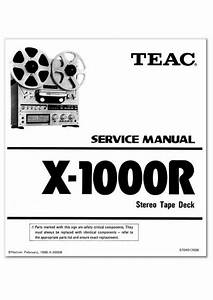 Teac X-1000r Reel Tape Recorder Service Manual