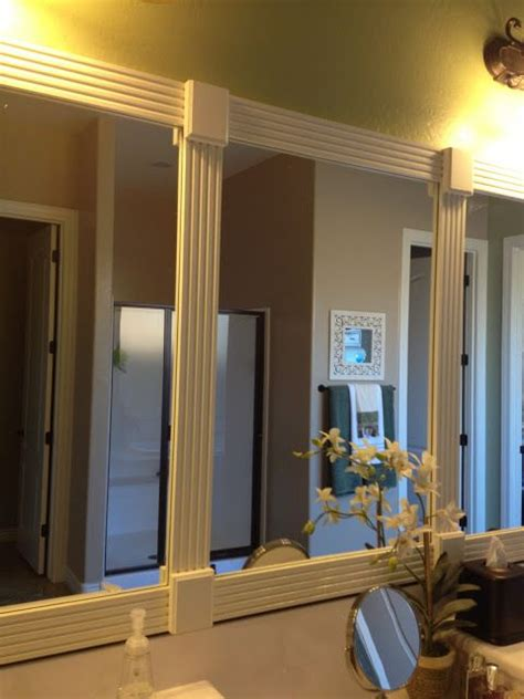 Bathroom Mirror Makeover by Using Trim To Frame Bathroom Mirror For The Home