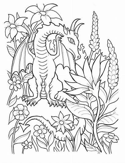 Coloring Fantasy Dragon Animal Myth Sky