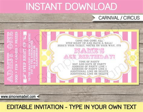 ticket invitation template carnival birthday ticket invitations template carnival circus