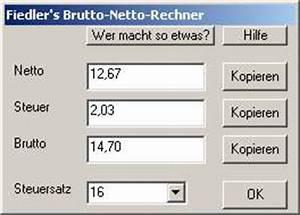 Stundenlohn Brutto Berechnen : fiedler 39 s netto brutto rechner ~ Themetempest.com Abrechnung
