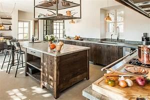 Ilot central cuisine bois ancien laurent passe for Ilot central cuisine bois