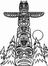 Totem Coloring Pages Poles Pole Drawing Native American Wolf Monumental Outline Northwest Easy Netart Coast Apache Clipart Template Indians Missed sketch template