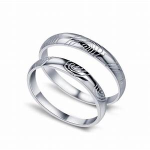 Fingerprint of love his and her matching wedding ring set for His and her matching wedding ring sets