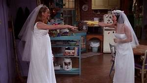 today in tv history monica rachel and phoebe tried on With friends wedding dress