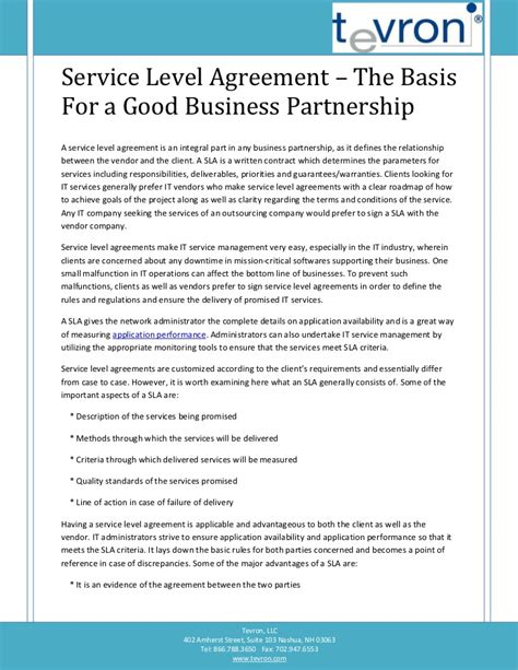 service level agreement  basis   good business