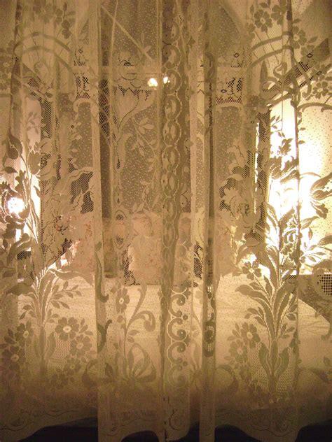 vintajmercantile vintage lace curtains ecru floral