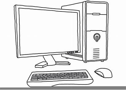 Computer Drawing Parts Clipart Line Sketch Monitor