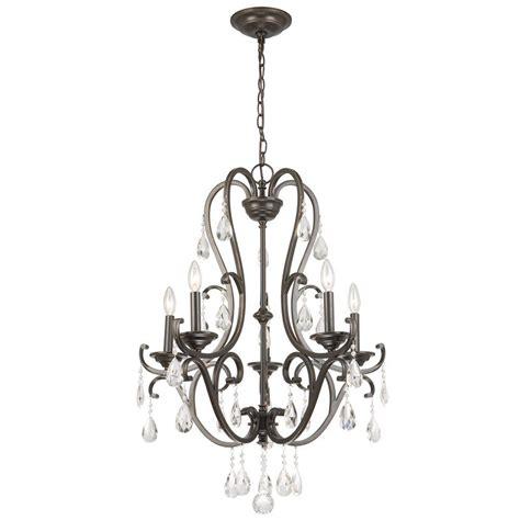 hton bay 5 light rubbed bronze chandelier