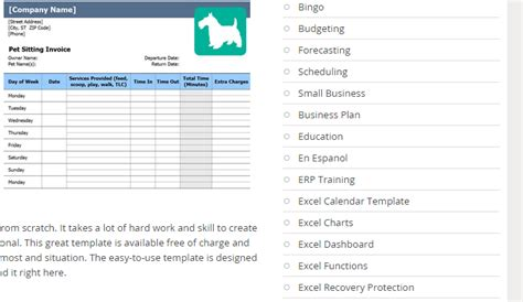 Resume Sample And Template Database Costumepartyrun - Dog boarding invoice template