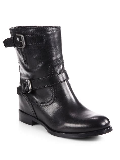 leather motorcycle shoes prada leather double buckle motorcycle boots in black