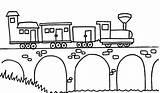 Bridge Coloring Buildings Architecture Netart Drawing Train Steam Passing Bridges Kb Drawings sketch template