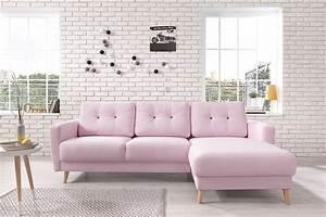 Canapé Rose Poudré : bobochic oslo canap d 39 angle droit rose poudr 225x147x86cm 225cm x 86cm x 147cm ~ Teatrodelosmanantiales.com Idées de Décoration