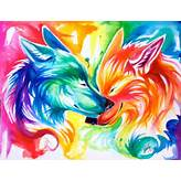 colorful, painting, pretty, rainbow, watercolor, wolf, wolves
