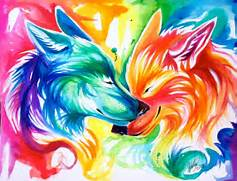 colorful  painting  pretty  rainbow  watercolor  wolf  wolves  Colorful Wolf Painting