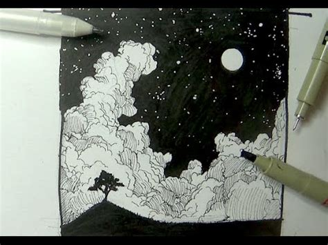 ink drawing tutorials   draw  night sky