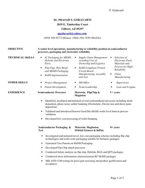 Semiconductor Resume semiconductor mems resume