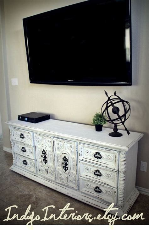 shabby chic tv table vintage white dresser buffet changing table tv stand
