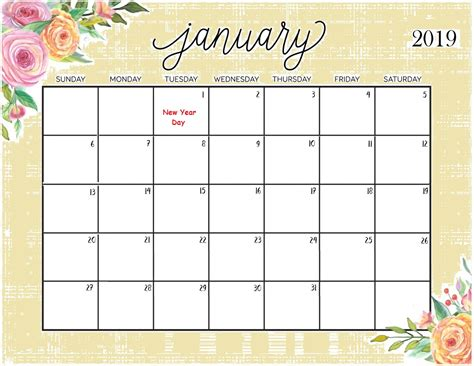 Free January 2019 Calendar A4 Download