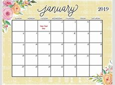 January 2019 Blank Printable Calendar Templates January