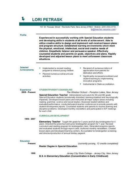 Resume Objective Sle For Teachers by Sle Resume Objective Statements For Teachers 40