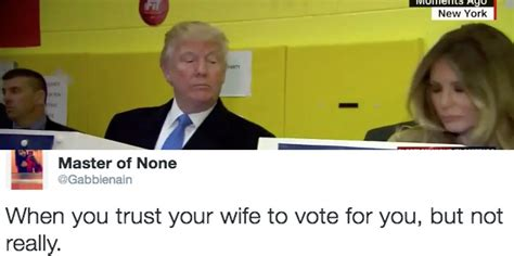 trump melania vote funny voting donald watching funniest tweets