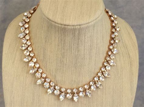 Wedding Jewelry Gold : Two Strand Swarovski Rose Gold Marquis Bridal Necklace