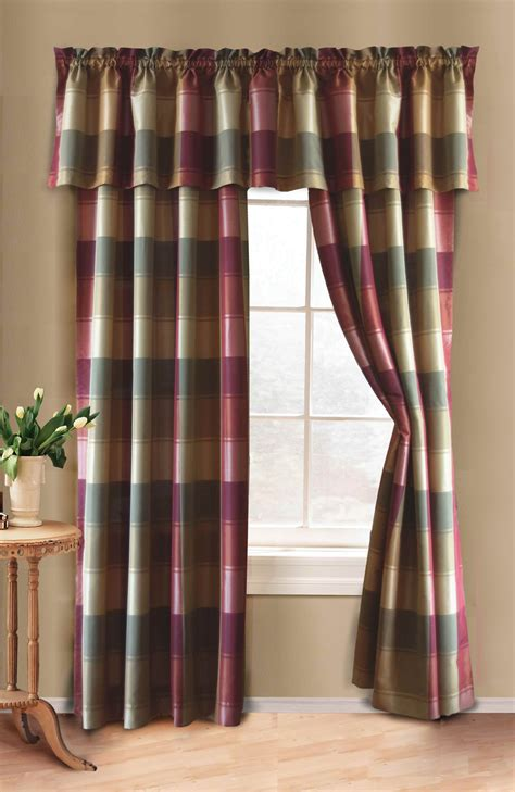 Plaid Curtain Panel Curtain & Bath Outlet