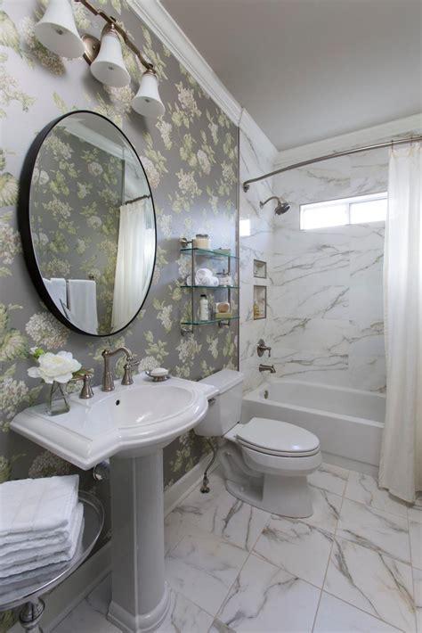 Bathroom With Floral Wallpaper Hgtv