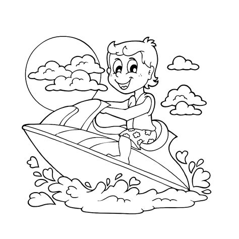 Speedboot Kleurplaat by Waterpret Kleurplaten Kleurplatenpagina Nl Boordevol