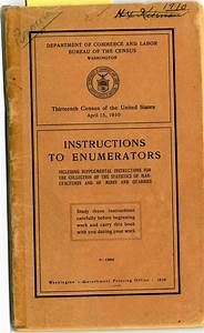 Dyk In 1910  All Census Enumerators Received This