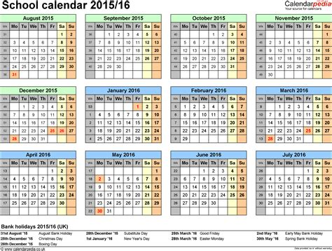 2015 16 Academic Calendar Template by School Calendars 2015 2016 As Free Printable Excel Templates