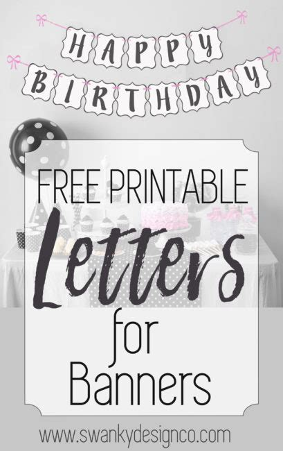 free printable black and white banner letters diy swank