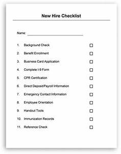 employee new hire checklist employee forms pinterest With pre employment checklist template