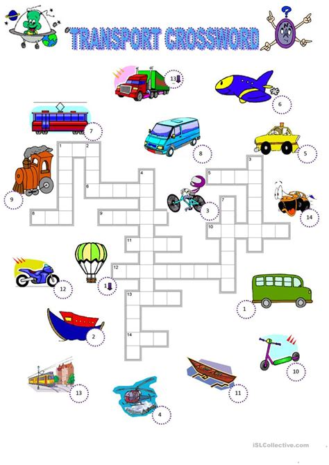 transport crossword worksheet free esl printable