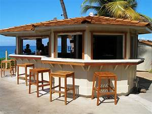 enchanting tropical style outdoor bars with wooden stools With tropical home bar furniture