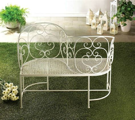 White Settee Bench by White Metal Garden Courting Settee Bench Tete A Tete S