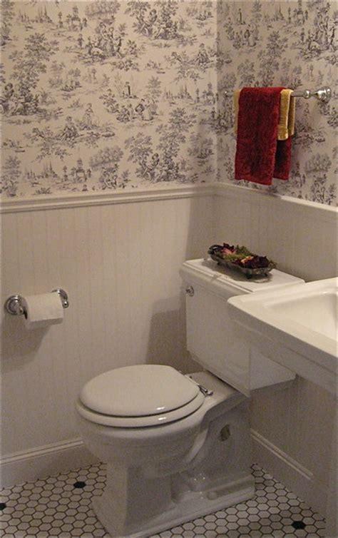 Vintage Style Powder Room ~ Kohler toilet, beadboard