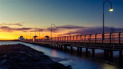 4k Sunset Dock Wooden Lights Evening Wallpapers