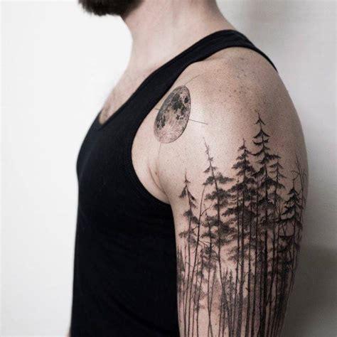 pine tree forest tattoo   left upper arm